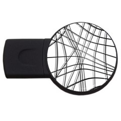 White and black warped lines USB Flash Drive Round (4 GB)