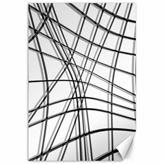 White and black warped lines Canvas 12  x 18