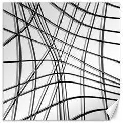 White and black warped lines Canvas 16  x 16
