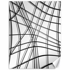 White And Black Warped Lines Canvas 18  X 24