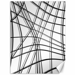 White and black warped lines Canvas 36  x 48