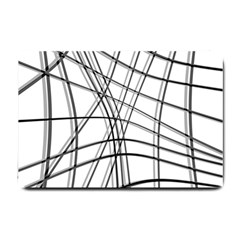 White and black warped lines Small Doormat
