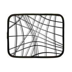 White and black warped lines Netbook Case (Small)