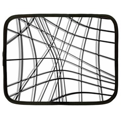 White and black warped lines Netbook Case (Large)