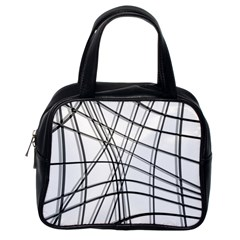 White and black warped lines Classic Handbags (One Side)