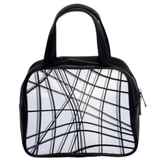 White and black warped lines Classic Handbags (2 Sides)
