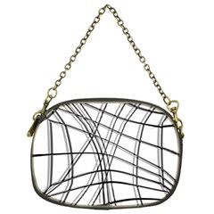 White and black warped lines Chain Purses (One Side)