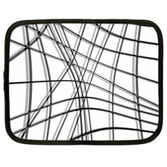 White and black warped lines Netbook Case (XXL)