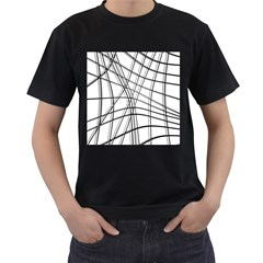 White and black warped lines Men s T-Shirt (Black)