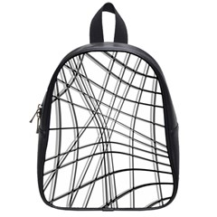 White and black warped lines School Bags (Small)