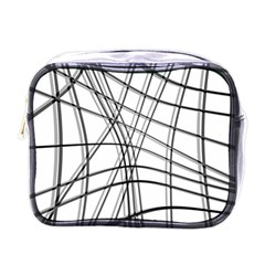 White and black warped lines Mini Toiletries Bags