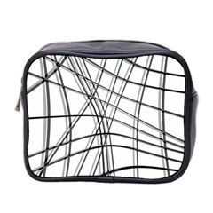 White and black warped lines Mini Toiletries Bag 2-Side