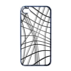 White and black warped lines Apple iPhone 4 Case (Black)