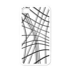 White and black warped lines Apple iPhone 4 Case (White)