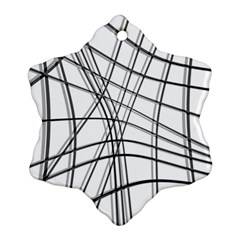 White and black warped lines Snowflake Ornament (2-Side)