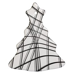 White and black warped lines Christmas Tree Ornament (2 Sides)