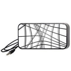 White and black warped lines Portable Speaker (Black)