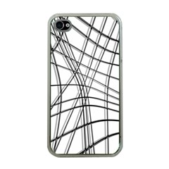 White and black warped lines Apple iPhone 4 Case (Clear)