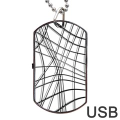 White and black warped lines Dog Tag USB Flash (One Side)
