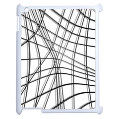 White and black warped lines Apple iPad 2 Case (White)