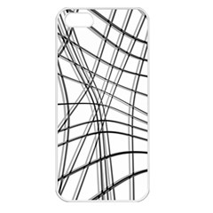 White and black warped lines Apple iPhone 5 Seamless Case (White)