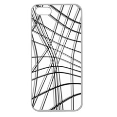White and black warped lines Apple Seamless iPhone 5 Case (Clear)