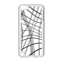 White and black warped lines Apple iPod Touch 5 Case (White)
