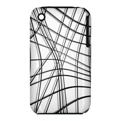 White and black warped lines Apple iPhone 3G/3GS Hardshell Case (PC+Silicone)