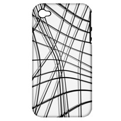 White and black warped lines Apple iPhone 4/4S Hardshell Case (PC+Silicone)