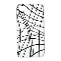 White and black warped lines Apple iPhone 4/4S Hardshell Case with Stand