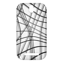 White and black warped lines HTC One SV Hardshell Case