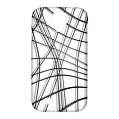 White and black warped lines Samsung Galaxy S4 Classic Hardshell Case (PC+Silicone)