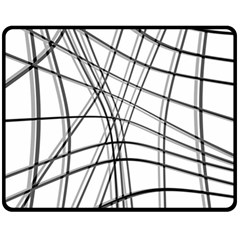 White and black warped lines Double Sided Fleece Blanket (Medium)