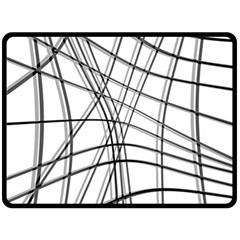 White and black warped lines Double Sided Fleece Blanket (Large)