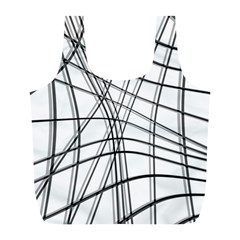 White and black warped lines Full Print Recycle Bags (L)