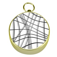 White and black warped lines Gold Compasses