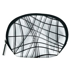 White and black warped lines Accessory Pouches (Medium)
