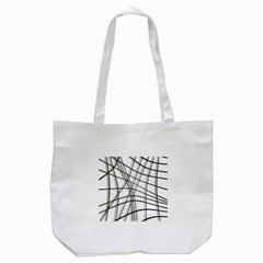 White and black warped lines Tote Bag (White)