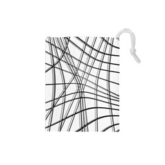 White and black warped lines Drawstring Pouches (Small)