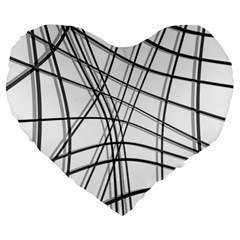 White and black warped lines Large 19  Premium Flano Heart Shape Cushions