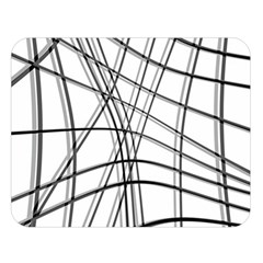White and black warped lines Double Sided Flano Blanket (Large)