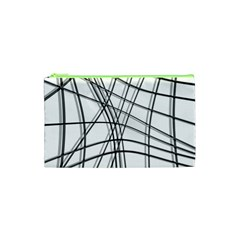 White and black warped lines Cosmetic Bag (XS)