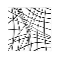 White and black warped lines Small Satin Scarf (Square)