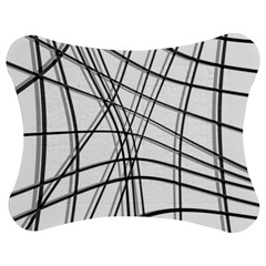 White and black warped lines Jigsaw Puzzle Photo Stand (Bow)