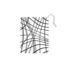White and black warped lines Drawstring Pouches (XS)