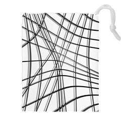 White and black warped lines Drawstring Pouches (XXL)