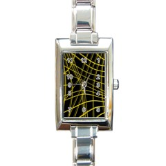 Yellow abstract warped lines Rectangle Italian Charm Watch