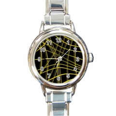 Yellow abstract warped lines Round Italian Charm Watch