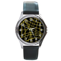 Yellow abstract warped lines Round Metal Watch