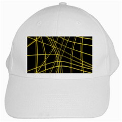 Yellow abstract warped lines White Cap